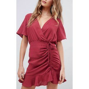 ASOS BOOHOO red ruched dress